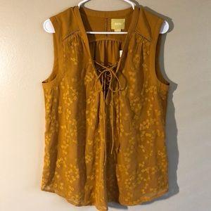 Anthropologie Maeve Golden Orange Sleeveless Top
